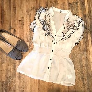 Ruffle front cream short sleeve button up blouse